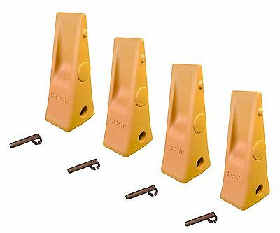 4 - Cat Style Backhoe Loader Bucket Dirt Teeth W Pins Retainers - 1u3252