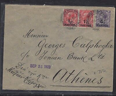 BRITISH LEVANT OFFICES IN TURKEY (P1410B)  KGV  1 1/2P+4 1/2P TO GREECE  1923