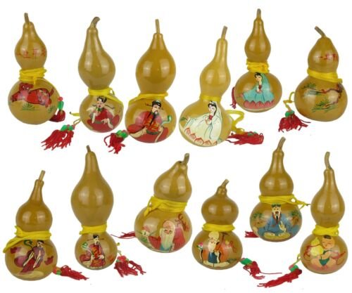 """Set of 12 Wu Lou Bottle Gourd Chinese Hang Ornaments Feng Shui Hand Painted 4"""""""