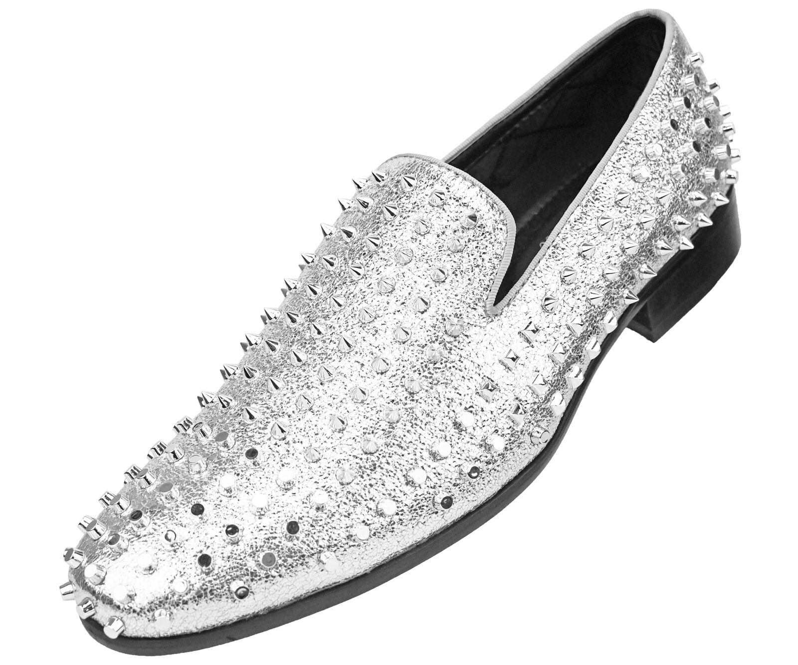 Amali Men's Lush Smoking Slipper with Spikes and Studs Loafer Slip-On Dress Shoe