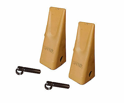 2 Caterpillar Style Backhoe Bucket Teeth W Pins Retainers - 1u-3202