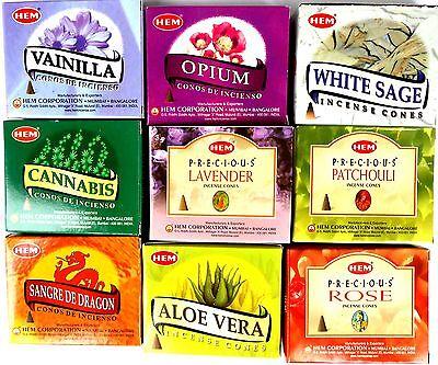 RÄUCHERSTÄBCHEN Räucherkegel HEM 9x 10 Stück Rose Vanille Cannabis Vanille Opium