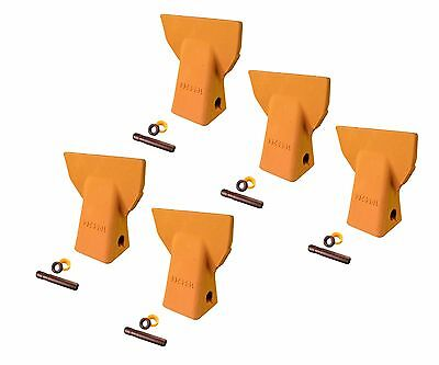 5 - Cat J200 Style Backhoe Bucket Flare Teeth W Pins Retainers- 109-9200