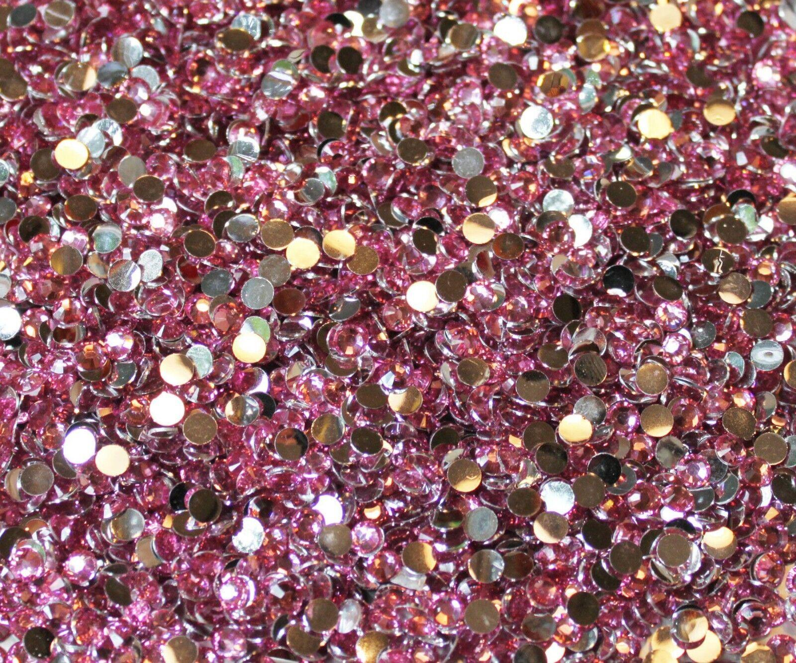 1000 Crystal Flat Back Resin Rhinestones Gems 60 colors, 2mm, 3mm, 4mm, 5mm, 6.5 PINK