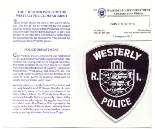 Westerly Police (Rhode Island) shoulder patch on a Dept History Card from 1996