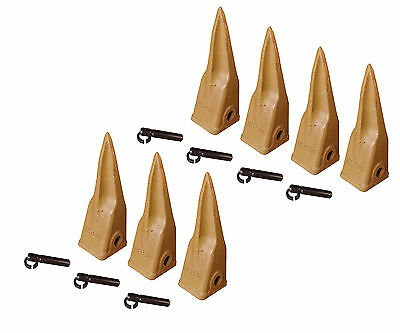 Backhoe Bucket Cat Style Tiger Teeth With Pins Retainers Set Of 7 1u3202tl