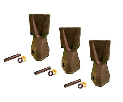 3 Backhoe Bucket Teeth 208-5235 - Penetration Tip W Pin Fits Cat Drs230