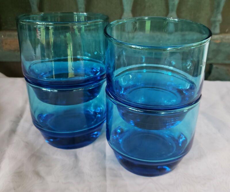Vintage Barware Turquoise Blue Rocks Glasses STACKABLE Set of 4