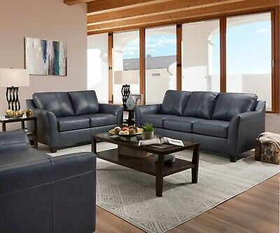 Acme Furniture Cocus Steel Blue Top Grain Leather Sofa and Loveseat