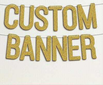 Personalised Custom Banner Golden Glitter 7 Inch Birthday Bridal Baby -