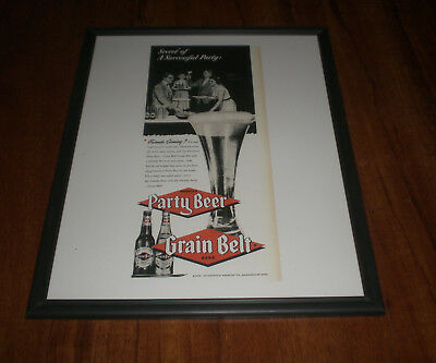 1953 GRAIN BELT THE PARTY BEER FRAMED 11x14 AD PRINT