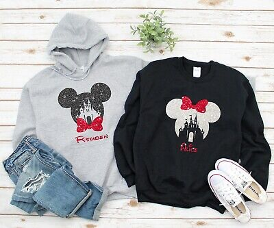 Personalised Disney Mickey Minnie Mouse Hoodie Sweatshirt Glitter Adult Unisex
