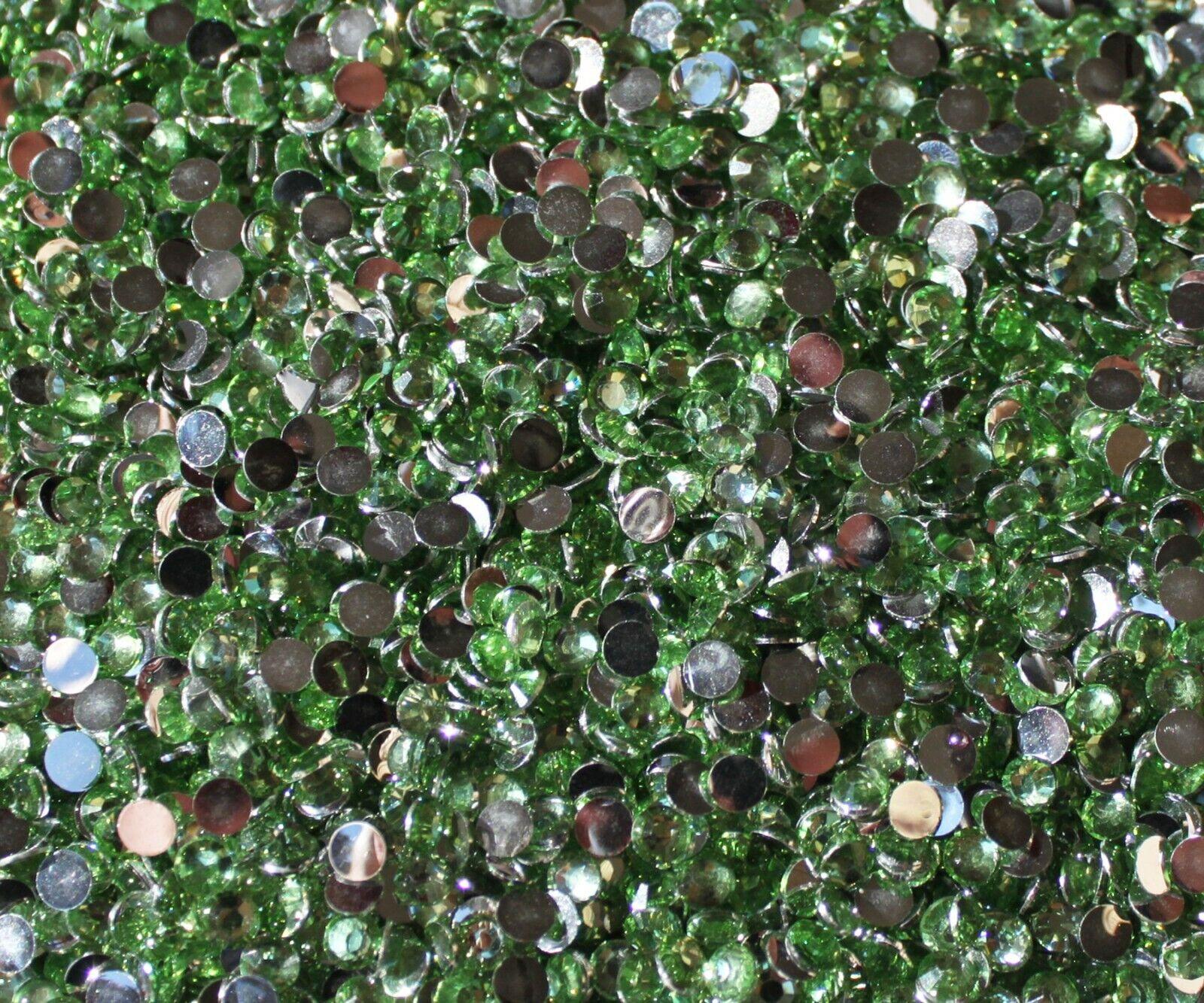 1000 Crystal Flat Back Resin Rhinestones Gems 60 colors, 2mm, 3mm, 4mm, 5mm, 6.5 PALE GREEN