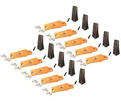10 Bobcat Style Skid Steer Bucket Teeth X156 W Bolt-on Shanks Pins Hardware