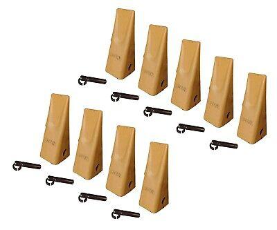 9 Caterpillar Style Backhoe Bucket Dirt Teeth W Pins Retainers - 1u-3202