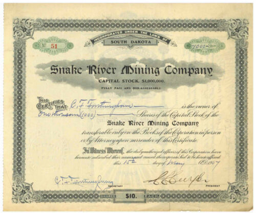 Snake River Mining Company. Stock Certificate South Dakota. 1907