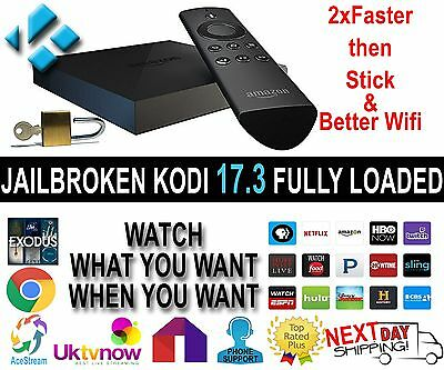 AMAZON FIRE TV BOX 4k Jam Packed WITH PLUG&PLAY LATEST K0DE 17.3