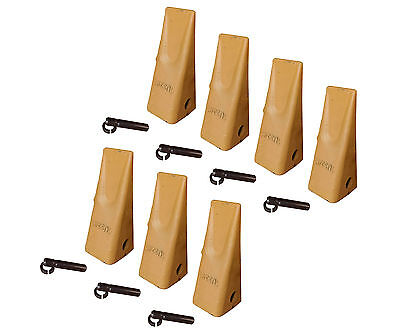 7 Caterpillar Style Backhoe Bucket Dirt Teeth W Pins Retainers - 1u-3202