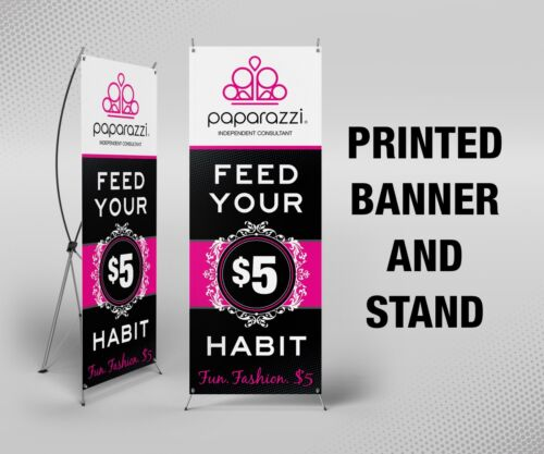 "Paparazzi Banner with X Stand - 24"" x 63"", Printed, Full Color"