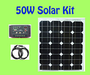 50w watt solar panel panneau solaire kit controller 12v rv boat camping ebay. Black Bedroom Furniture Sets. Home Design Ideas