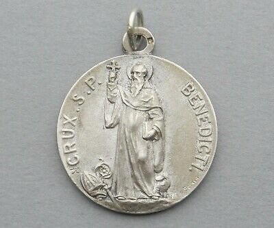 Saint Benedict Pattern Of Good Death Saint Benedict of Nursia Medal 925 Silver Italian Medal Pendant Charm