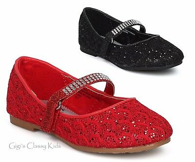 New Girls Black Red Glitter Dress Shoes Flats Christmas Dorothy Kids Youth Party - Glitter Shoes Girls