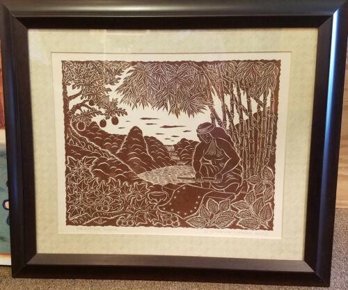 Dietrich Varez Hawaii Hawaiian Artist Block Print Framed - Printing Kapa