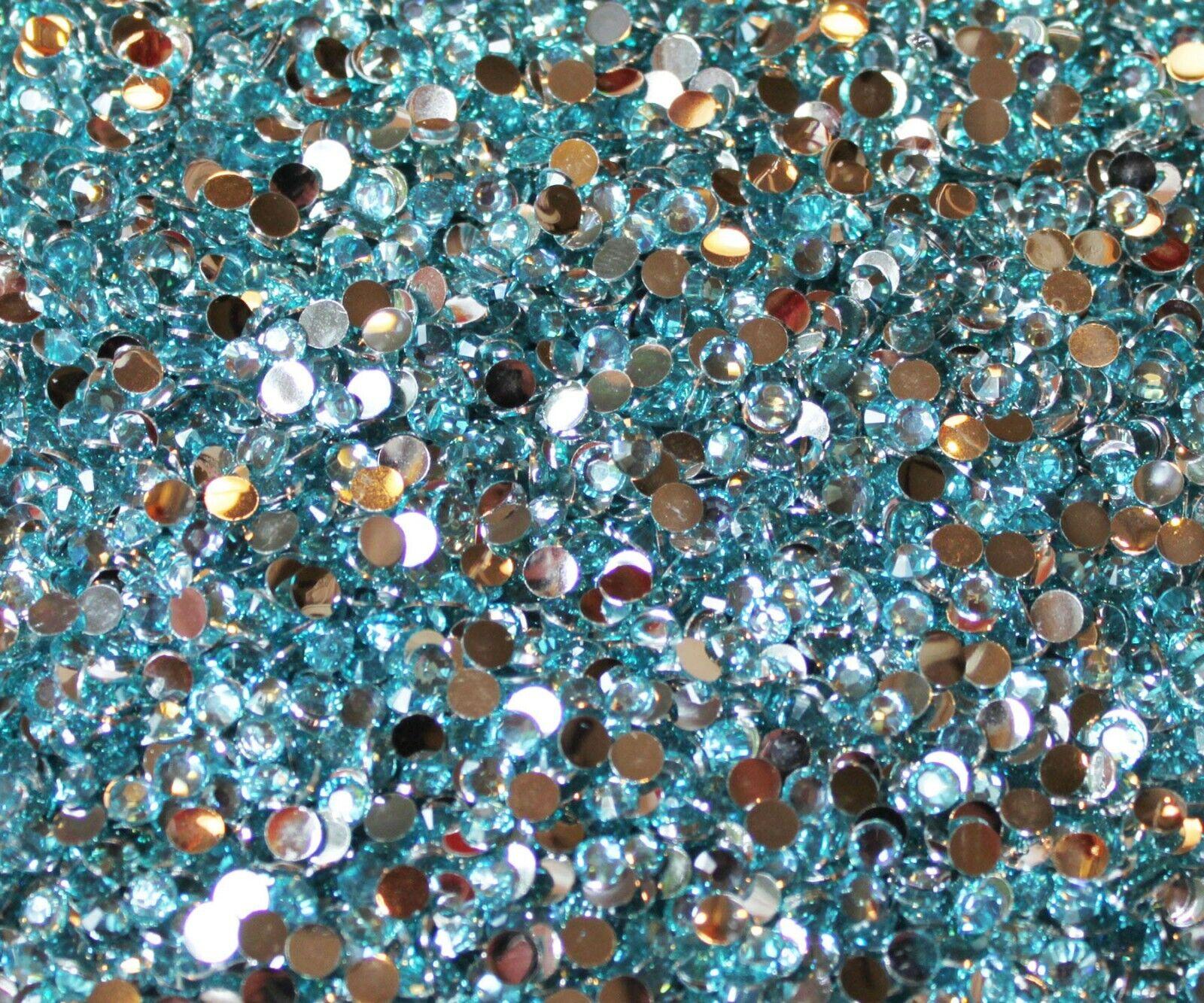 1000 Crystal Flat Back Resin Rhinestones Gems 60 colors, 2mm, 3mm, 4mm, 5mm, 6.5 AQUAMARINE