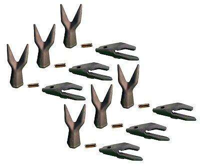 6 Backhoe Bucket Adapters34 Lip Twin Sharp Teeth Pins Fits Cat Drs200