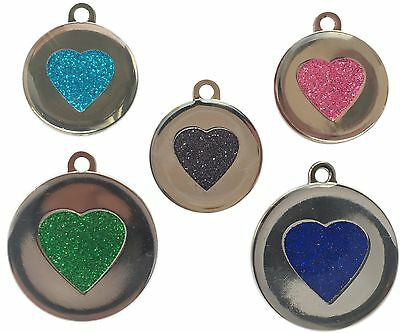 Katze Custome (Custom Pet Tags Heart Glitter Engraved Pet 25/32mm DOG CAT ID Disc Disk FREE P&P)