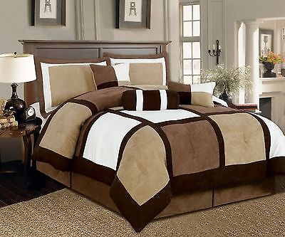 7 Pcs Brown, Beige, Black Micro Suede Patchwork Comforter Bedding Set Washable