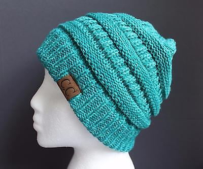 - Teal Green ski hat chunky thick knit slouch cap beanie winter crochet hat marled