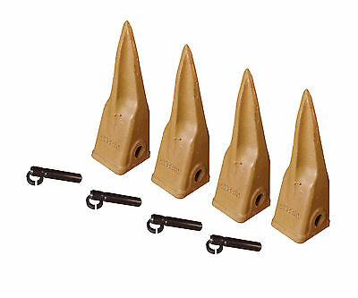 4 - Caterpillar Style Backhoe Bucket Rock Teeth W Pins Retainers - 1u-3202tl