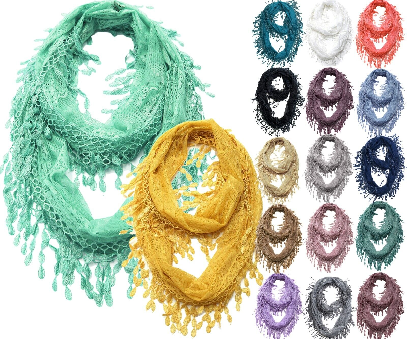 Lace Infinity Scarf with Long Fringe Clothing, Shoes & Accessories