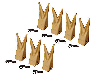 Backhoe Bucket Cat Style Tiger Teeth With Pins Retainers Set Of 7 1u3202wtl
