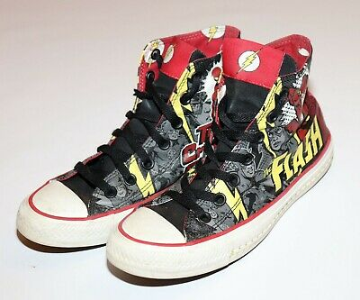 Men's 5/Wm's 7 DC Comics The Flash superhero Converse high top canvas - Superhero Converse