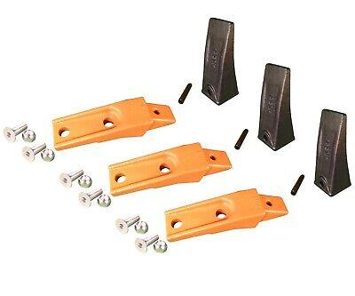 3 Bobcat Style Skid Steer Bucket Teeth X156 W Bolt-on Shanks Pins Hardware