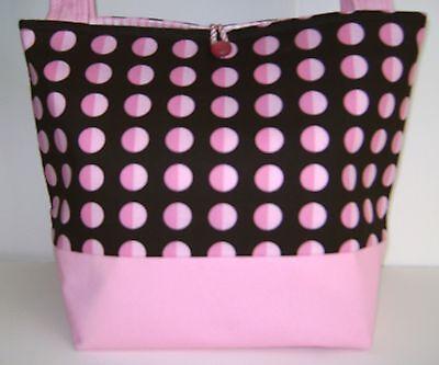 PINK AND BROWN POLKA DOT HANDBAG DIAPER BAG PURSE BUCKET TOTE BAG (Diaper Bag Pink And Brown)