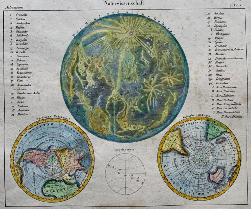 1820 c. Early MOON Map with world map - Hand coloured