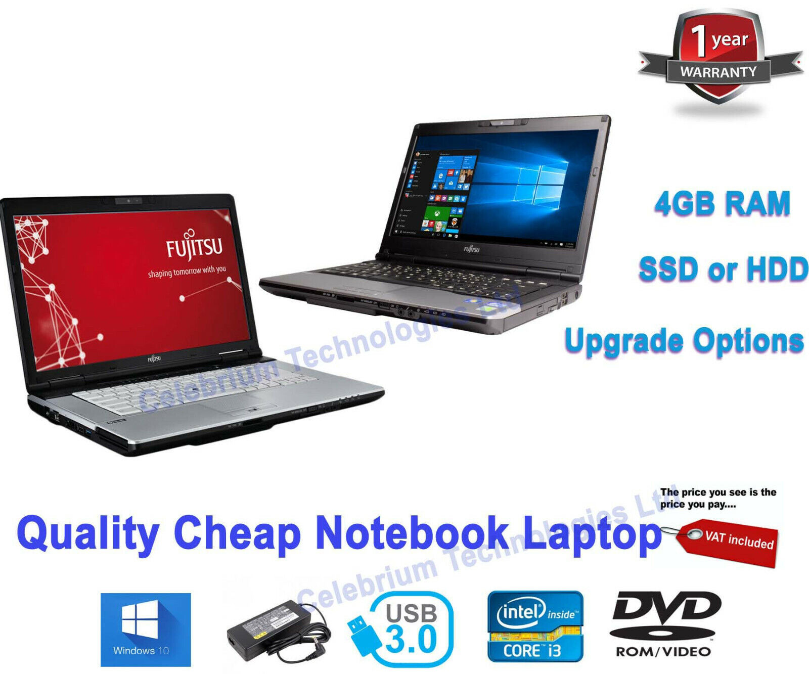 Laptop Windows - Cheap Fast Windows 10 LAPTOP Core i3 3rd Gen 2.50GHz 4GB 120GB SSD Warranty