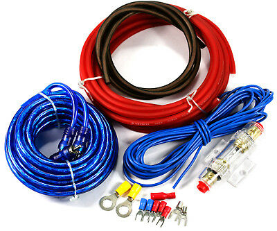 10 AWG GAUGE AMPLIFIER WIRING KIT TERMINALS RCA POWER CABLE 400W 40 (10 Gauge Amp Kit)