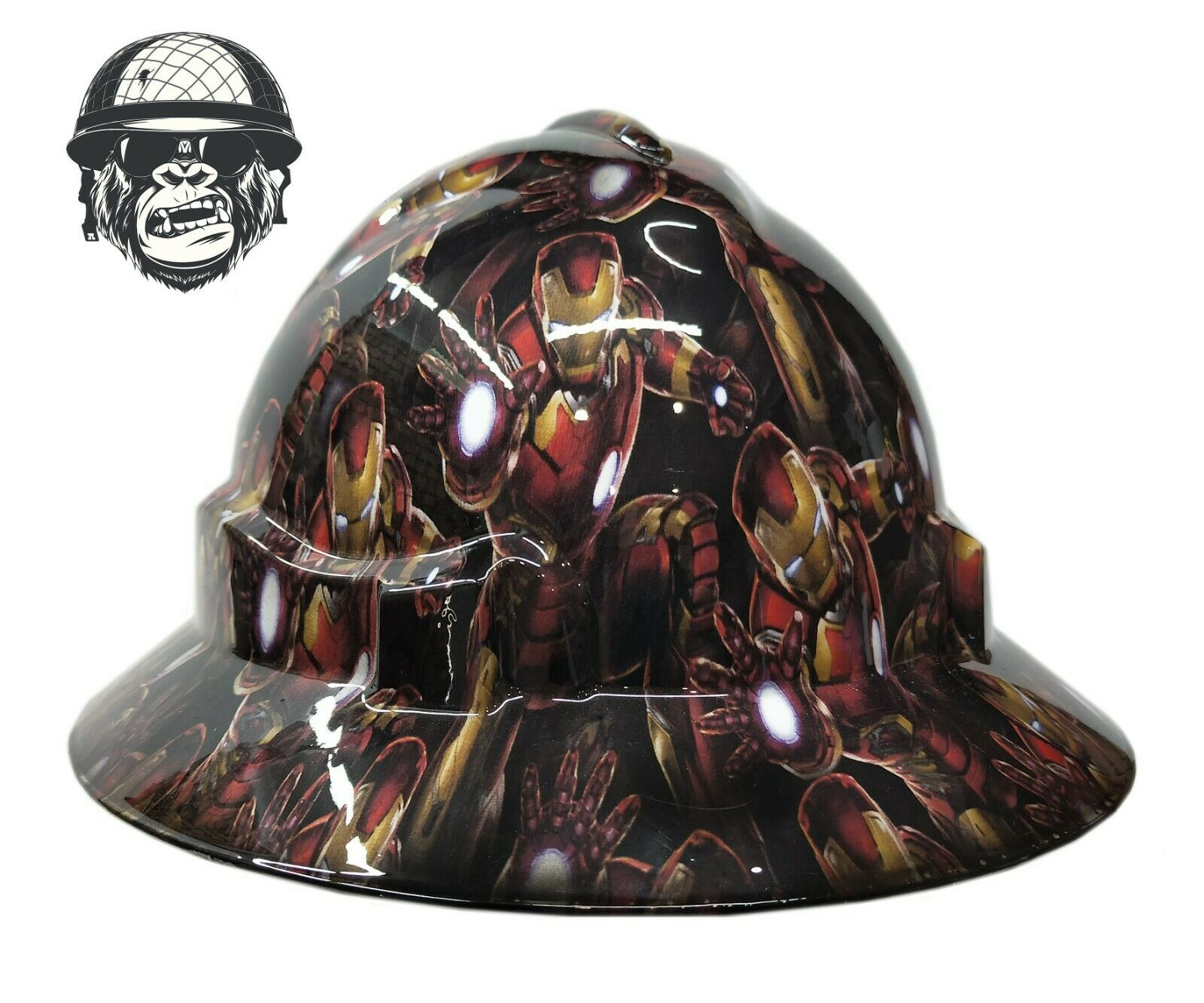 Custom Hydrographic Wide Brim Safety Hard Hat Mining IRONMAN WIDE
