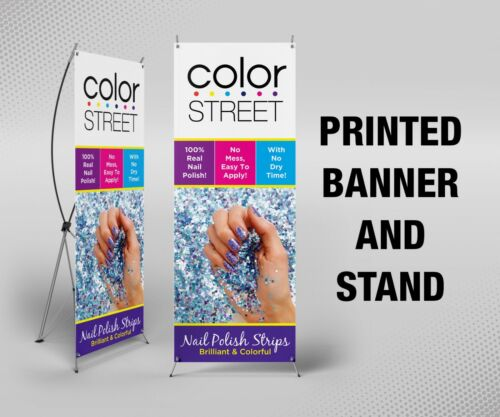 "Color Street Banner with X Stand - 24"" x 63"", Printed, Full Color"