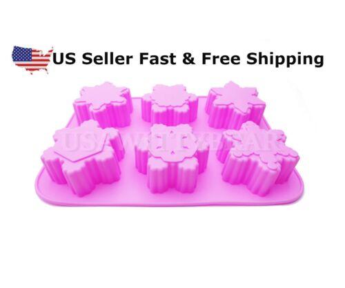 6-Cavity Snowflake Variety Shaped Christmas DIY HANDMADE SOAP MOLD US Seller