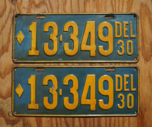 1930 Delaware License Plate PAIR / SET
