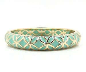 Mint Enamel and Gold Tone Lattice Hinged Bangle Bracelet