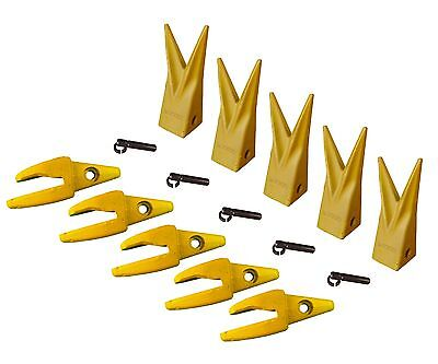 5 Cat J200 Style Backhoe Bucket Shanks 1 Lip Rock Teeth 1u-3202wtl 119-3204