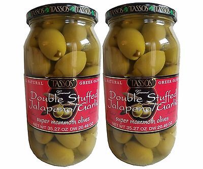 - 2 Pack Tassos Greek Olives Double Stuffed Jalapeno Garlic Net70.54oz Dry40.92oz