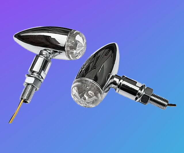 Pair LED Bullet Indicator Chrome e-certified chopper bobber old school 2 Mini