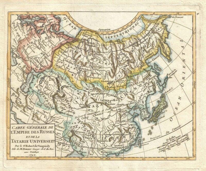 1749 Vaugondy Map of Asia